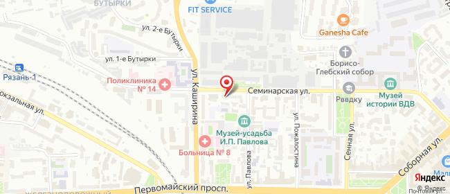 Карта расположения пункта доставки Рязань Семинарская в городе Рязань