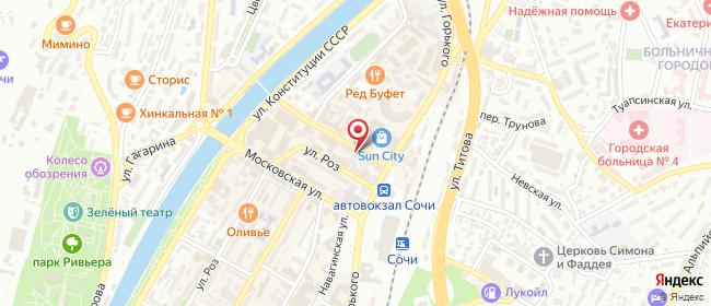 Карта расположения пункта доставки Сочи Северная в городе Сочи