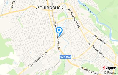 Местоположение на карте пункта техосмотра по адресу Краснодарский край, г Апшеронск, ул Партизанская, д 73Г
