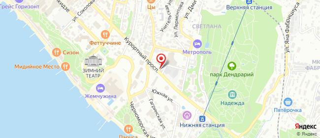 Карта расположения пункта доставки Билайн в городе Сочи