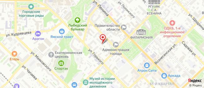 Карта расположения пункта доставки Рязань Радищева в городе Рязань