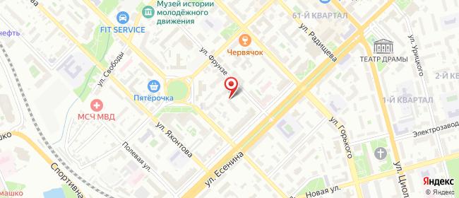 Карта расположения пункта доставки ПВЗ Фрунзе в городе Рязань