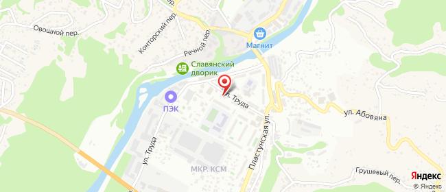 Карта расположения пункта доставки Сочи Труда в городе Сочи