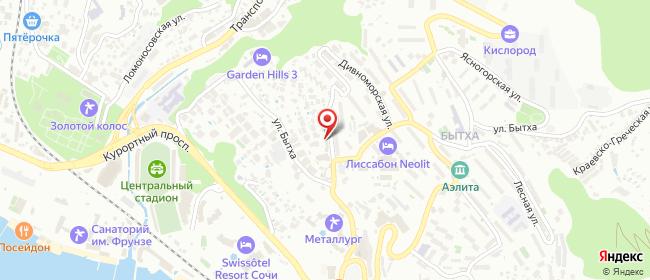 Карта расположения пункта доставки На Дивноморской в городе Сочи