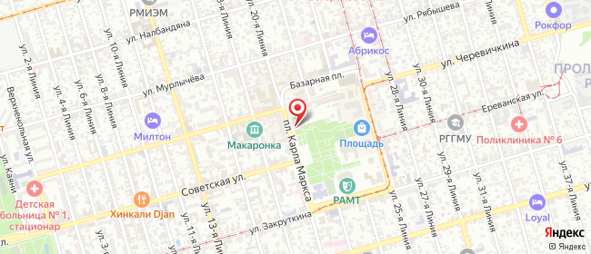 Карта расположения пункта доставки Ростов-на-Дону Карла Маркса в городе Ростов-на-Дону
