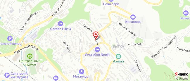 Карта расположения пункта доставки Сочи Дивноморская в городе Сочи