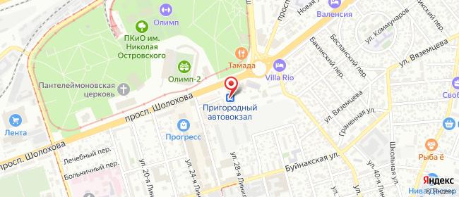Карта расположения пункта доставки Ростов-на-Дону Шолохова в городе Ростов-на-Дону