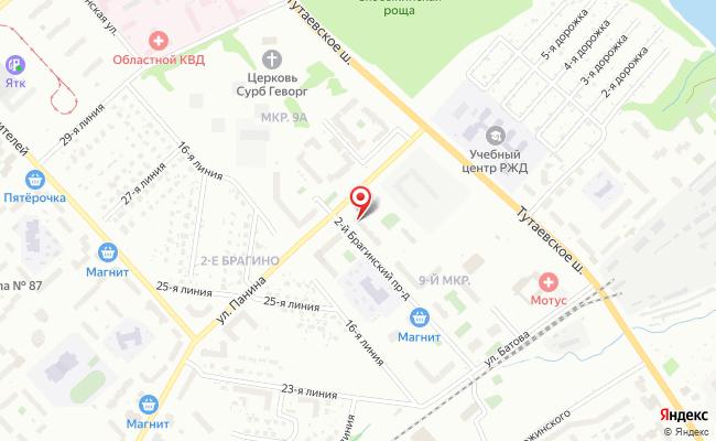 Карта расположения пункта доставки Ярославль 2-ой Брагинский в городе Ярославль