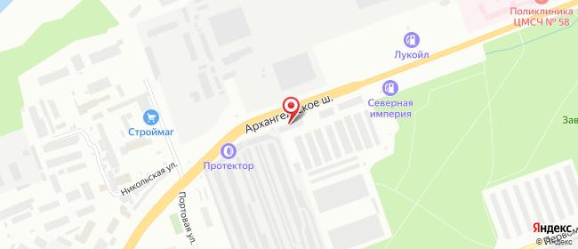 Карта расположения пункта доставки Северодвинск Архангельское шоссе в городе Северодвинск