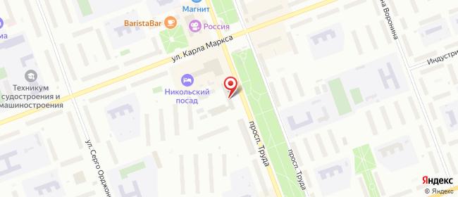 Карта расположения пункта доставки Ростелеком в городе Северодвинск