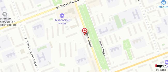 Карта расположения пункта доставки Северодвинск Труда в городе Северодвинск