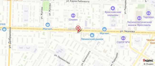 Карта расположения пункта доставки На Чкалова в городе Ярославль