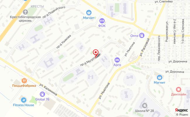 Карта расположения пункта доставки Ярославль Матросова в городе Ярославль