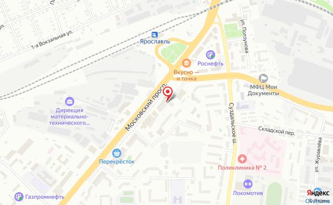 Карта расположения пункта доставки Ярославль Московский в городе Ярославль