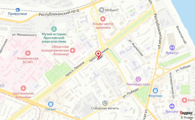 Карта расположения пункта доставки Ярославль Ленина в городе Ярославль