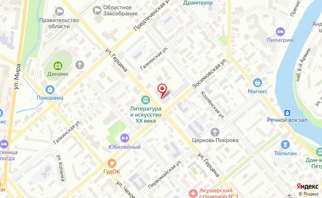 Карта расположения пункта доставки Ростелеком в городе Вологда