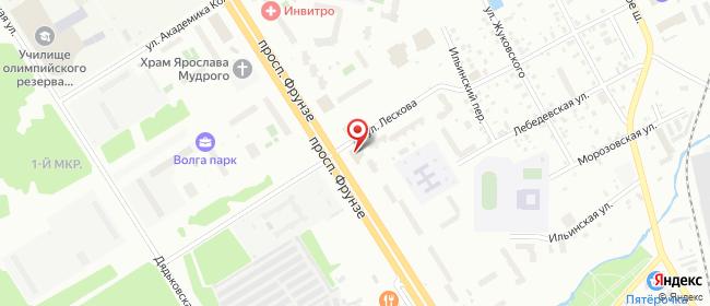 Карта расположения пункта доставки Ярославль Фрунзе в городе Ярославль