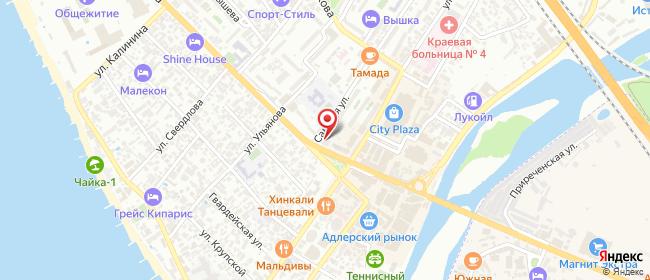 Карта расположения пункта доставки Адлер (На Ленина) в городе Сочи
