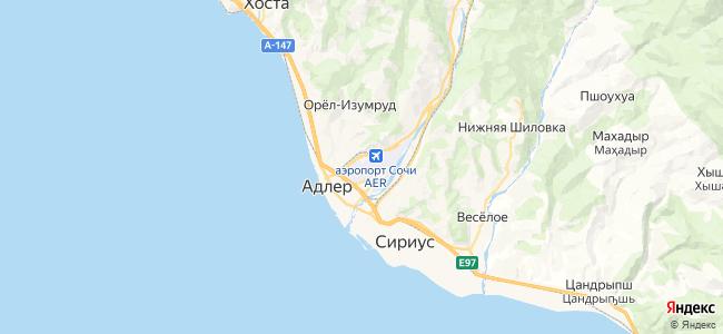 Адлер - объекты на карте