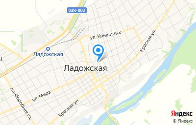 Местоположение на карте пункта техосмотра по адресу Краснодарский край, Усть-Лабинский р-н, ст-ца Ладожская, ул Почтовая, д 25А