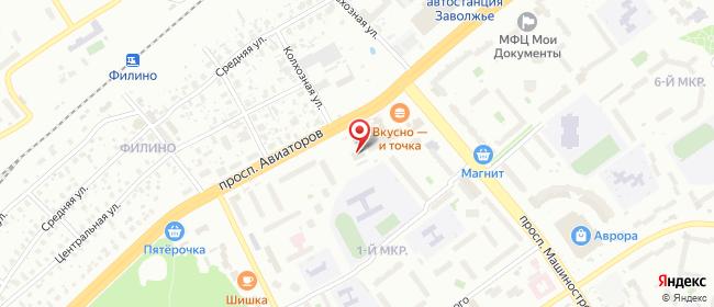 Карта расположения пункта доставки Ярославль Авиаторов в городе Ярославль