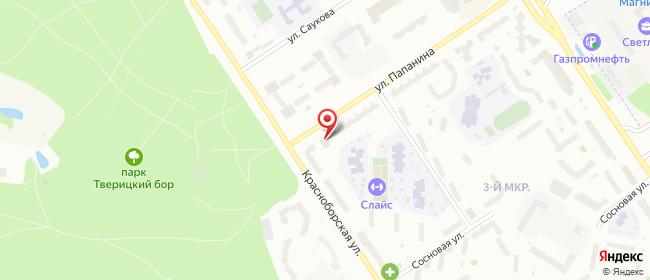 Карта расположения пункта доставки Ярославль Папанина в городе Ярославль