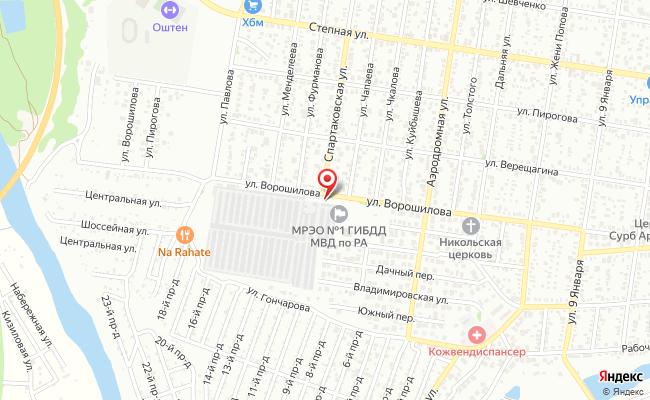 Карта расположения пункта доставки 220 вольт в городе Майкоп