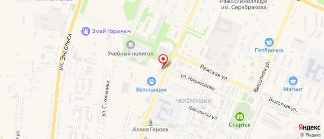 Карта расположения пункта доставки На Горького в городе Ряжск