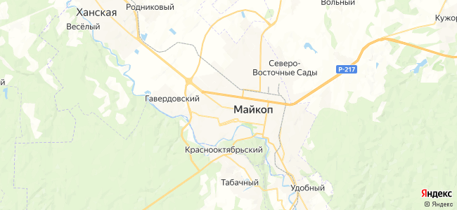 Отдых в Майкопе  посуточно - объекты на карте