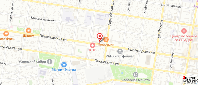 Карта расположения пункта доставки СИТИЛИНК в городе Майкоп