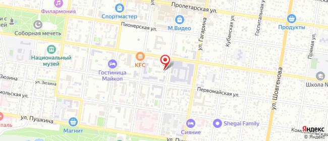 Карта расположения пункта доставки Майкоп Гоголя в городе Майкоп