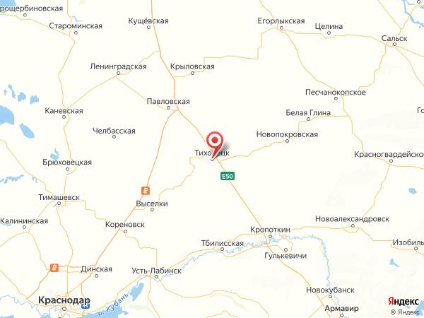 Тихорецк на карте