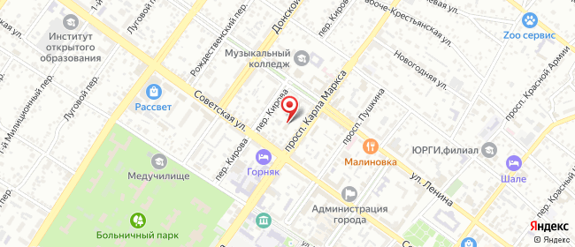 Карта расположения пункта доставки Ростелеком в городе Шахты