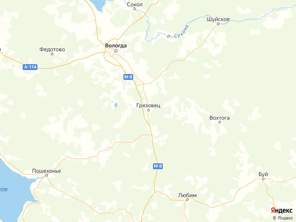 Грязовец на карте