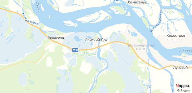 Лайский Док на карте