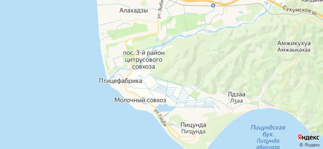 Пицунда - объекты на карте