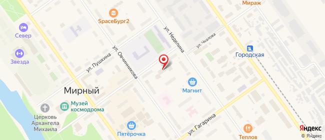 Карта расположения пункта доставки Мирный Чайковского в городе Мирный