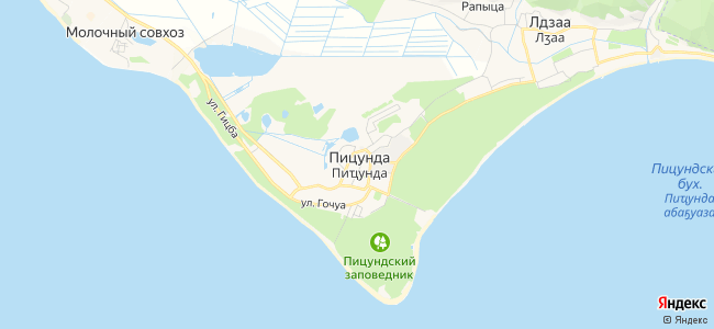 Базы отдыха Пицунды - объекты на карте