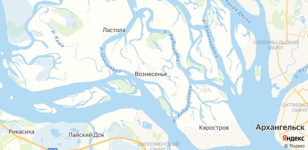 Вознесенье на карте