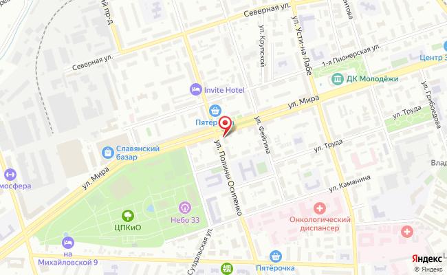 Карта расположения пункта доставки Билайн в городе Владимир