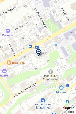 ДОПОЛНИТЕЛЬНЫЙ ОФИС ФИЛИАЛ ВЛАДИМИРСКИЙ АКБ МОСКОМПРИВАТБАНК на карте Владимира