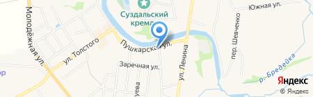 Панорама Кремля на карте Суздаля