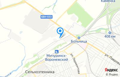"""Местоположение на карте пункта техосмотра по адресу Тамбовская обл, Мичуринский р-н, п """"Зеленый Гай"""", ул Гастелло, д 2А"""