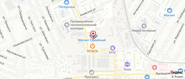 Карта расположения пункта доставки Билайн в городе Мичуринск