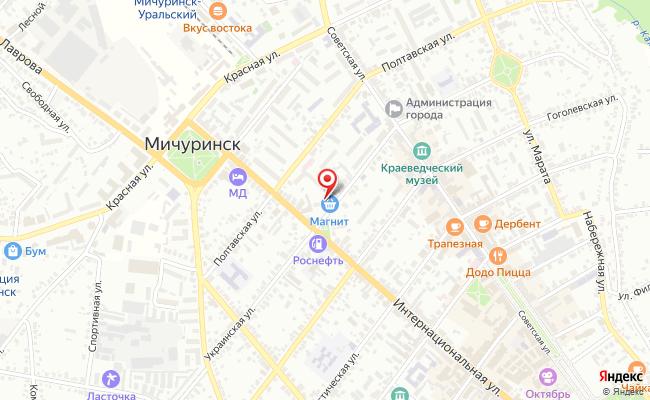 Карта расположения пункта доставки Пункт выдачи в городе Мичуринск