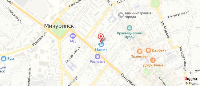 Карта расположения пункта доставки Мичуринск Интернациональная в городе Мичуринск