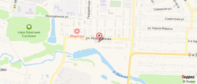 Карта расположения пункта доставки На Новоженова в городе Тейково