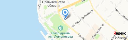 Северный терминал на карте Архангельска