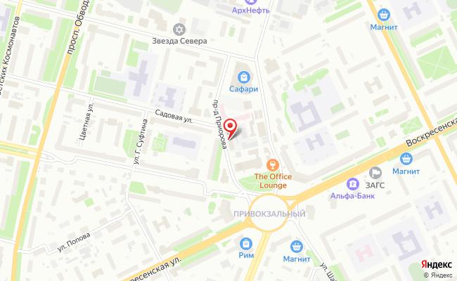 Карта расположения пункта доставки Ростелеком в городе Архангельск