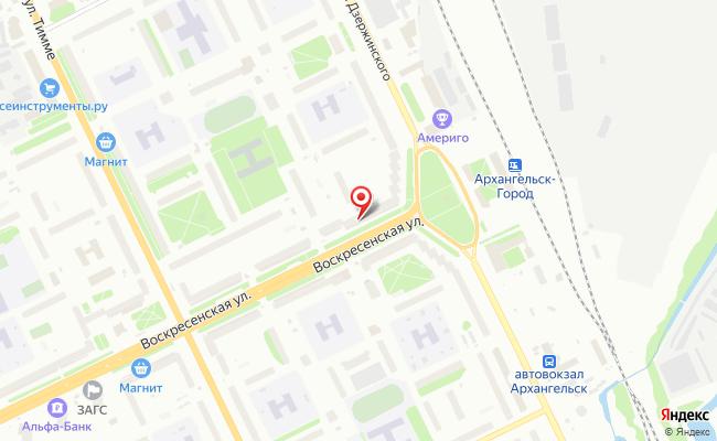 Карта расположения пункта доставки Пункт выдачи в городе Архангельск